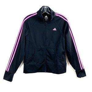 Adidas track jacket Medium black with pink stripe